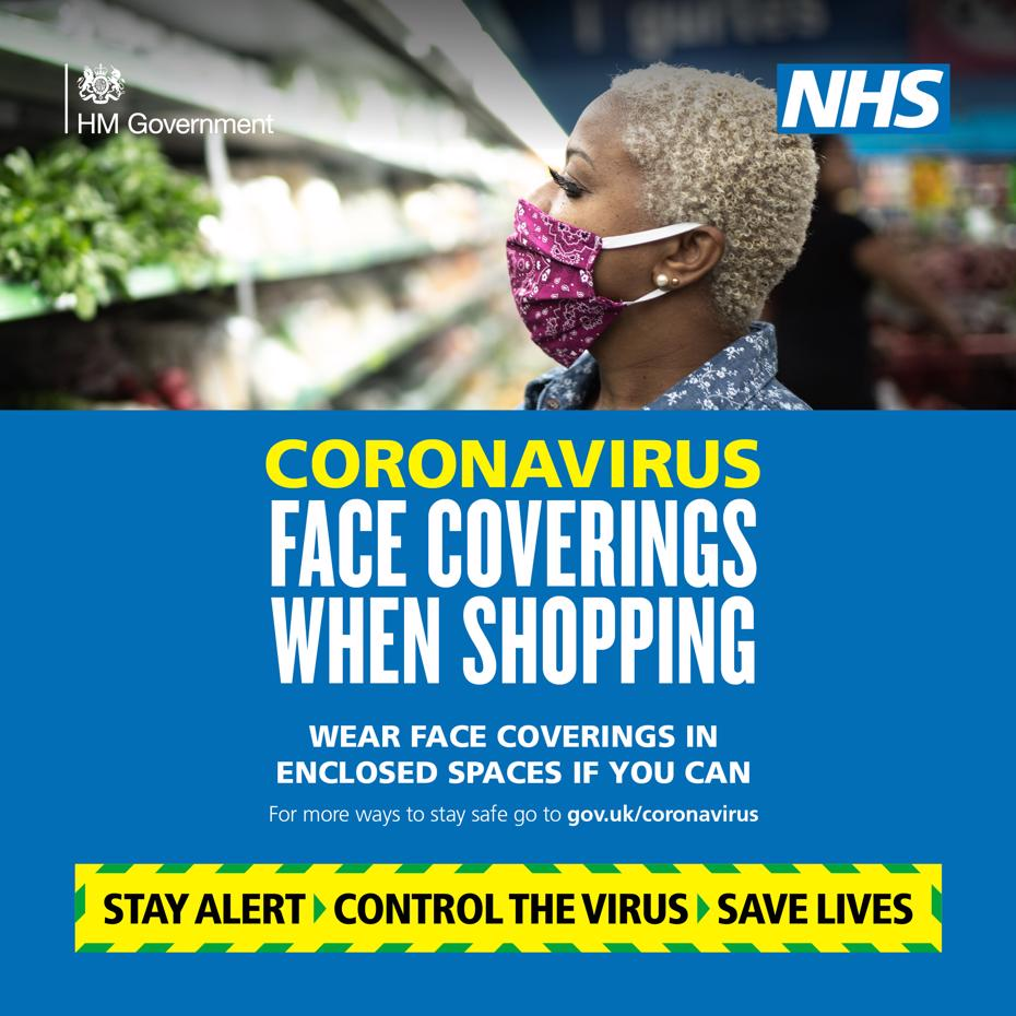 Wear a face covering when shopping if you can