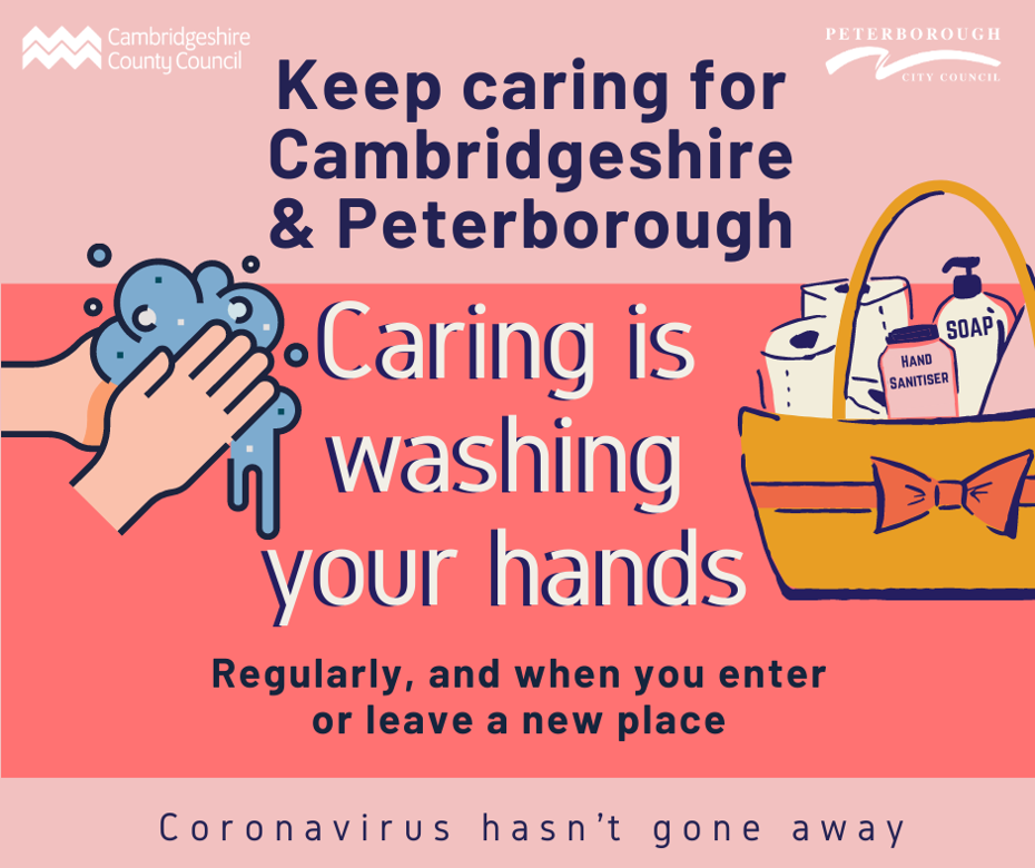 Keep caring campaign - caring is washing your hands regularly, and when you enter or leave a new place