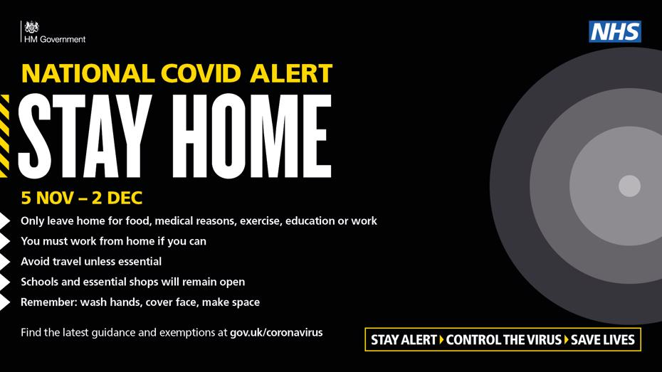 National covid alert leve. Stay home 5 November to 2 December