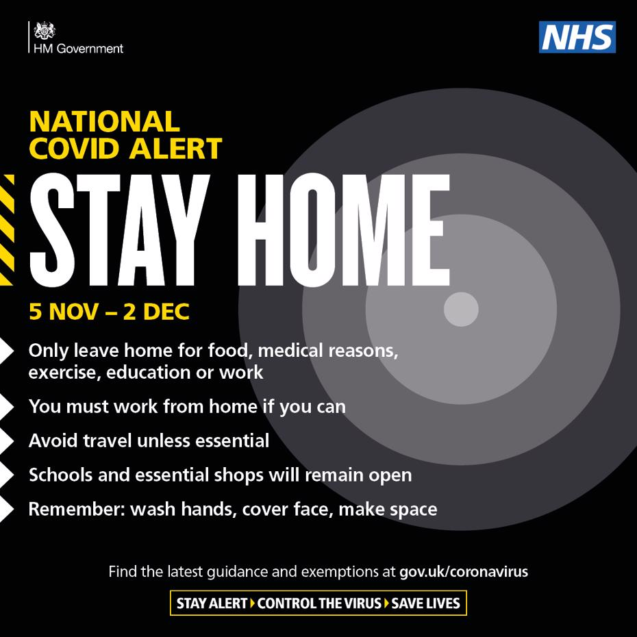 National covid alert. Say home 5 November to 2 December