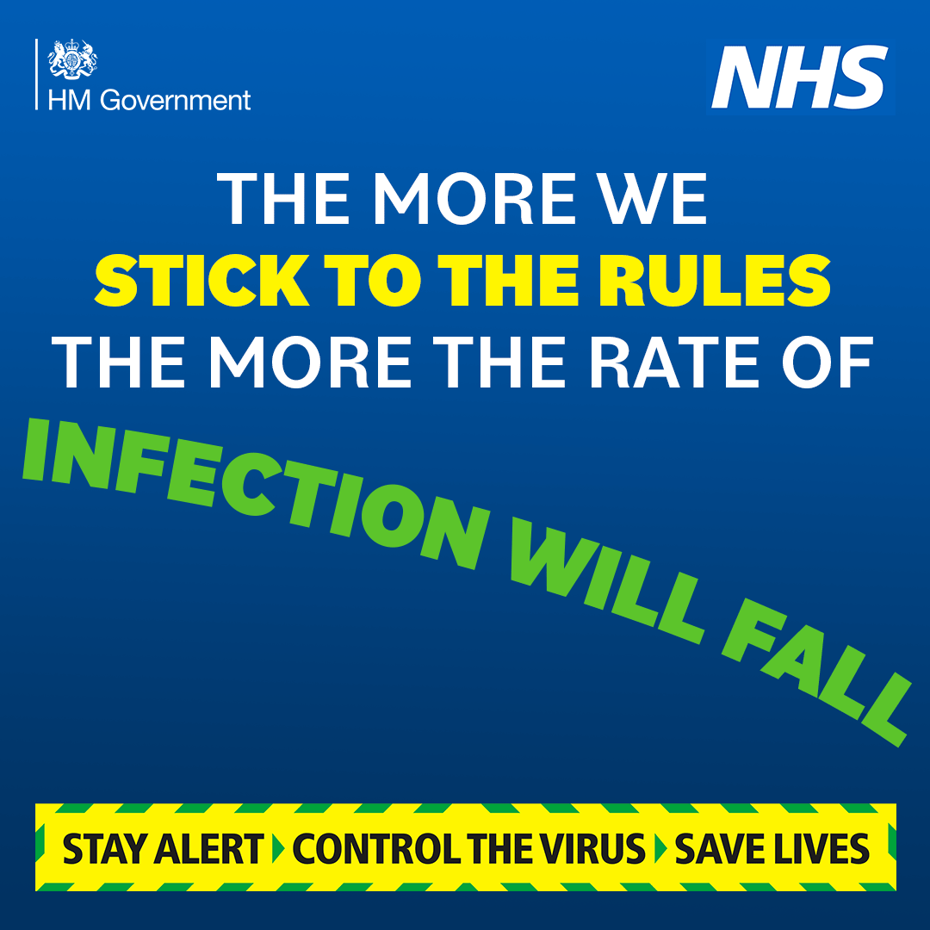 Stay alert - the more we stick to the rules the more the rate of infection will fall