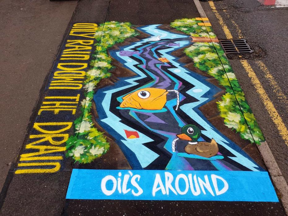 Mural on pavement at Discovery Primary School