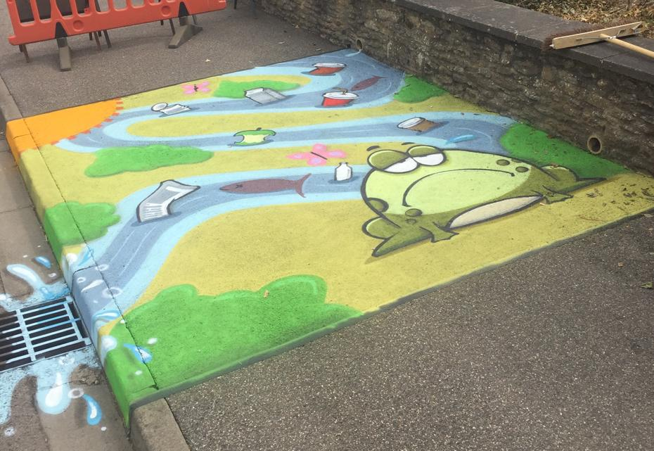 Mural on pavement at Werrington Primary School